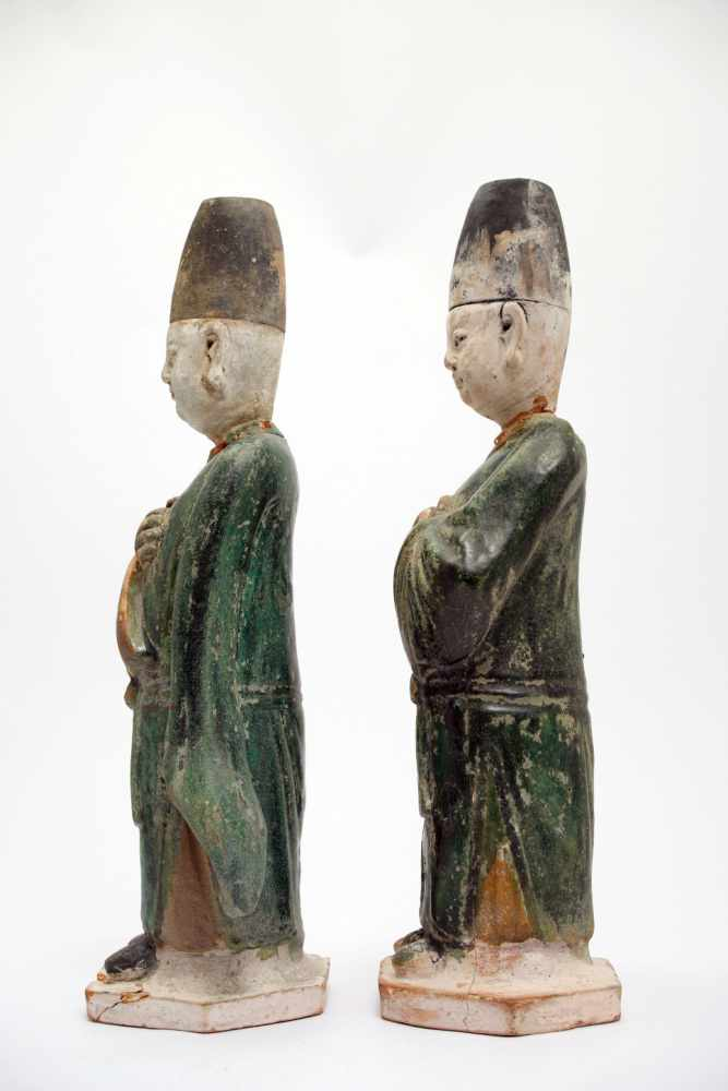 Lot 5 - Two Chinese OfficialsPainted earthenwareChinaMing DynastyH: 33 cmTwo funerary statues of Chinese