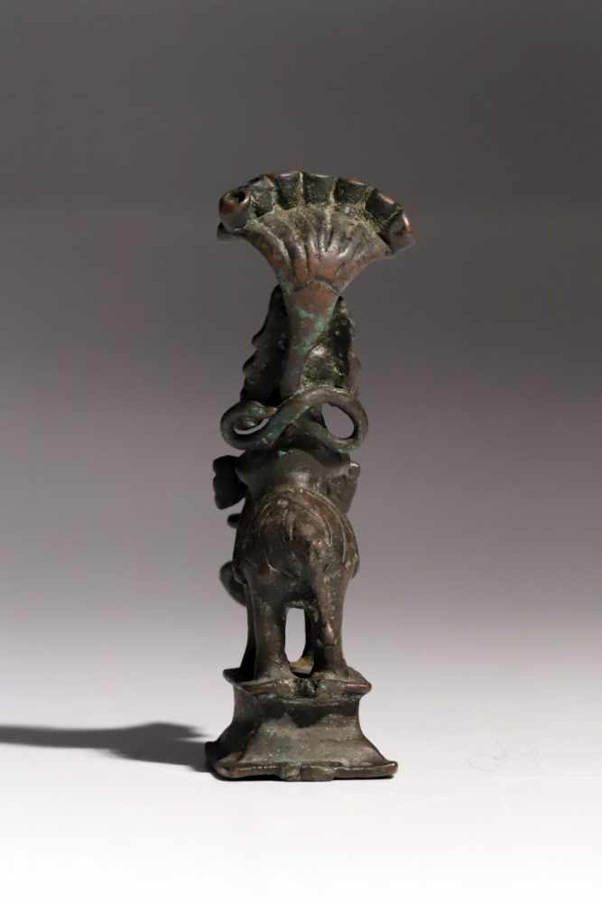 Lot 53 - Sculpture on ElephantBronzeIndia16th ctH: 10 cmThis little statue was probably used as oil lamp,