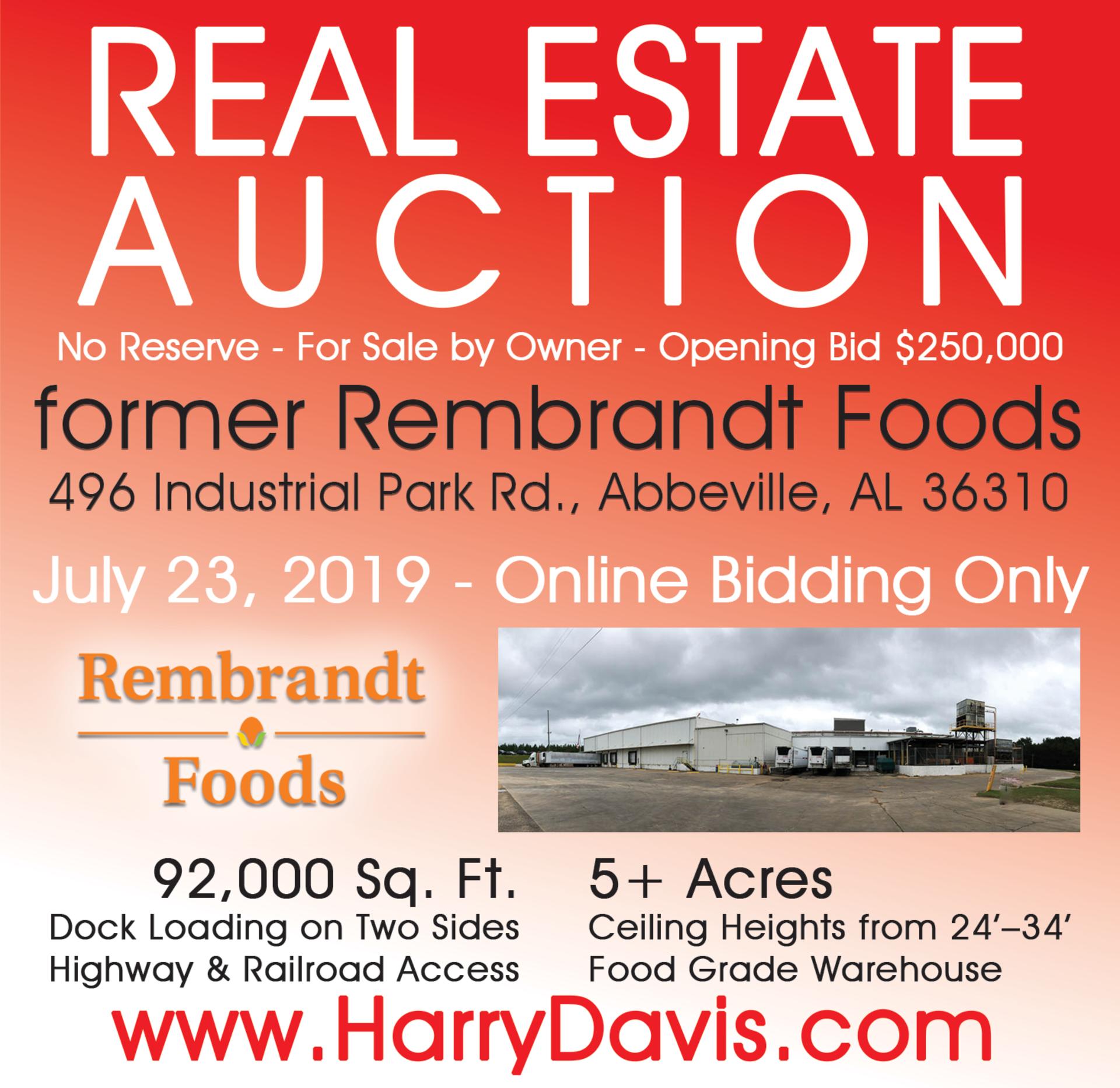 Lot 1 - REAL ESTATE AUCTION: former Rembrandt Foods, Abbeville, AL