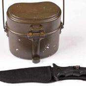"""Armee-Zubehör 1 x Kochgeschirr, feldgrün sowie 1 x Messer """"Gecko Knife"""", Stofftasche mit"""
