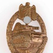 Kampfabzeichen III. Reich Panzerkampfabzeichen ohne Einsatzzahl, Stufe Bronze, wohl Buntmetall