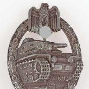 Kampfabzeichen III. Reich Panzerkampfabzeichen ohne Einsatzzahl, Stufe Silber, wohl Zink versilbert,