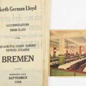 """Lloyd-Deckplan und Karte 1 x Deckplan des Turbinen-Schnelldampfers Bremen, Reprint-Ausgabe ("""""""
