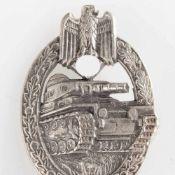 Kampfabzeichen III. Reich sog. Panzer-Kampfabzeichen, Stufe Silber, rs. senkrechte Nadel,