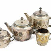 Kaffee- und Teekernstück WMF, Geislingen, Metall versilbert, bestehend aus Kaffee- und Teekanne,