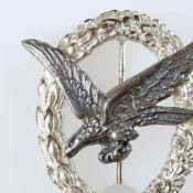 Kampfabzeichen III. Reich Fliegerschützenabzeichen ohne Blitzbündel, silberfarbenes Lorbeer/