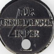 """Dienstauszeichnung III. Reich SS-Dienstauszeichnung für 4 Jahre """"Treue Dienste"""", am blauen Band,"""