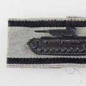 Kampfabzeichen III. Reich Sonderabzeichen Panzervernichter in Silber, geschwärzter Panzer mit zwei