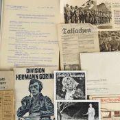 """Konvolut Papier """"Division Hermann Göring"""" III. Reich dabei u.a.: 1 x Werbebroschur """"Division Hermann"""