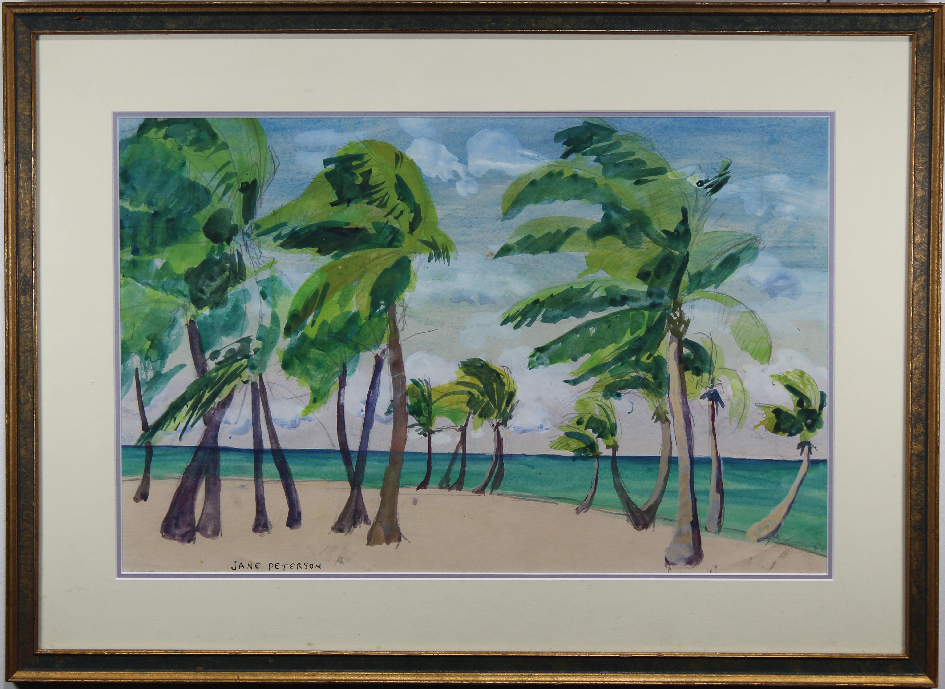 "Lot 63 - Jane Peterson (1876 - 1965) ""Palms on the Beach"""
