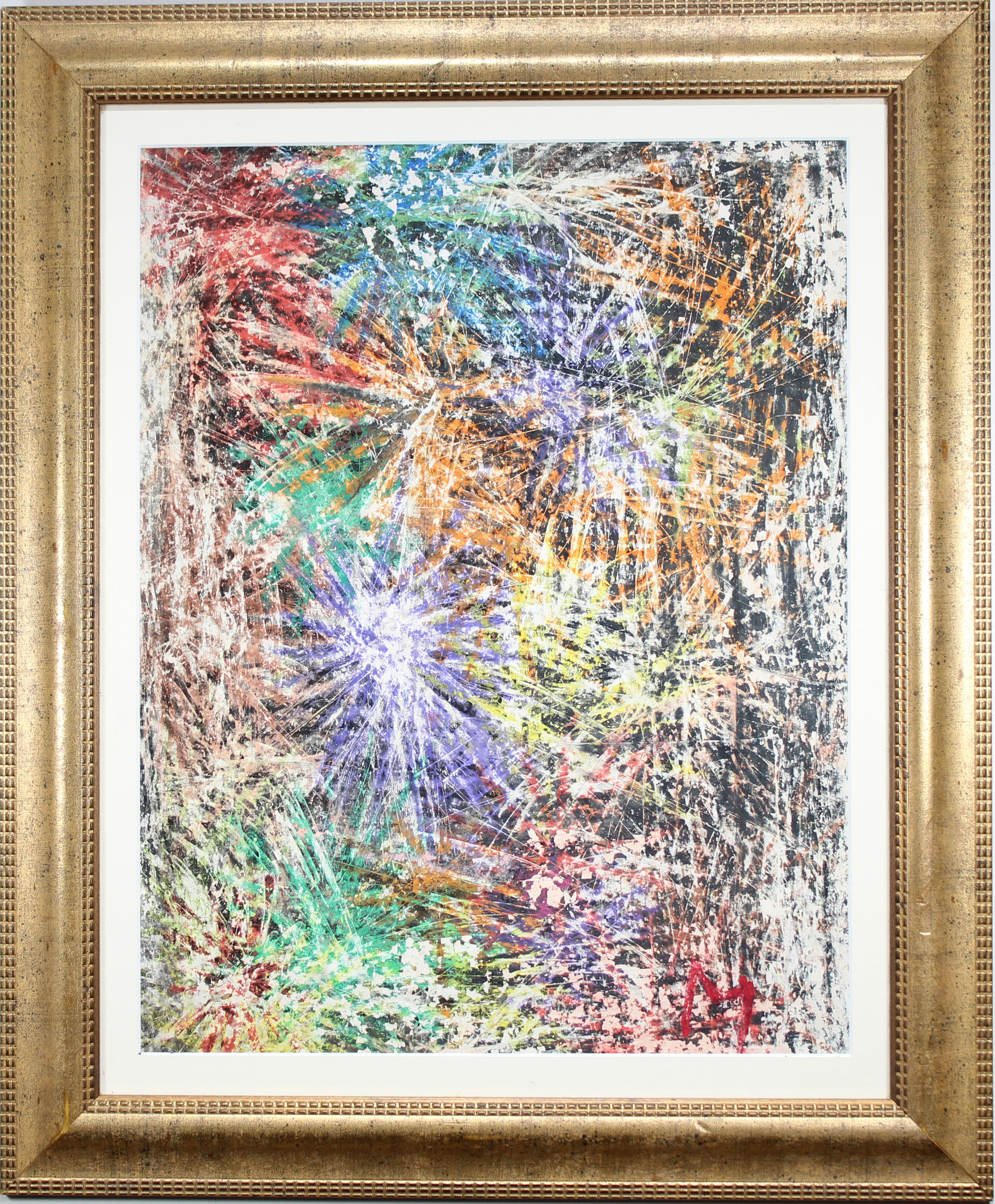 """Lot 288 - American School, """"Fireworks"""" Mixed Media. Signed"""