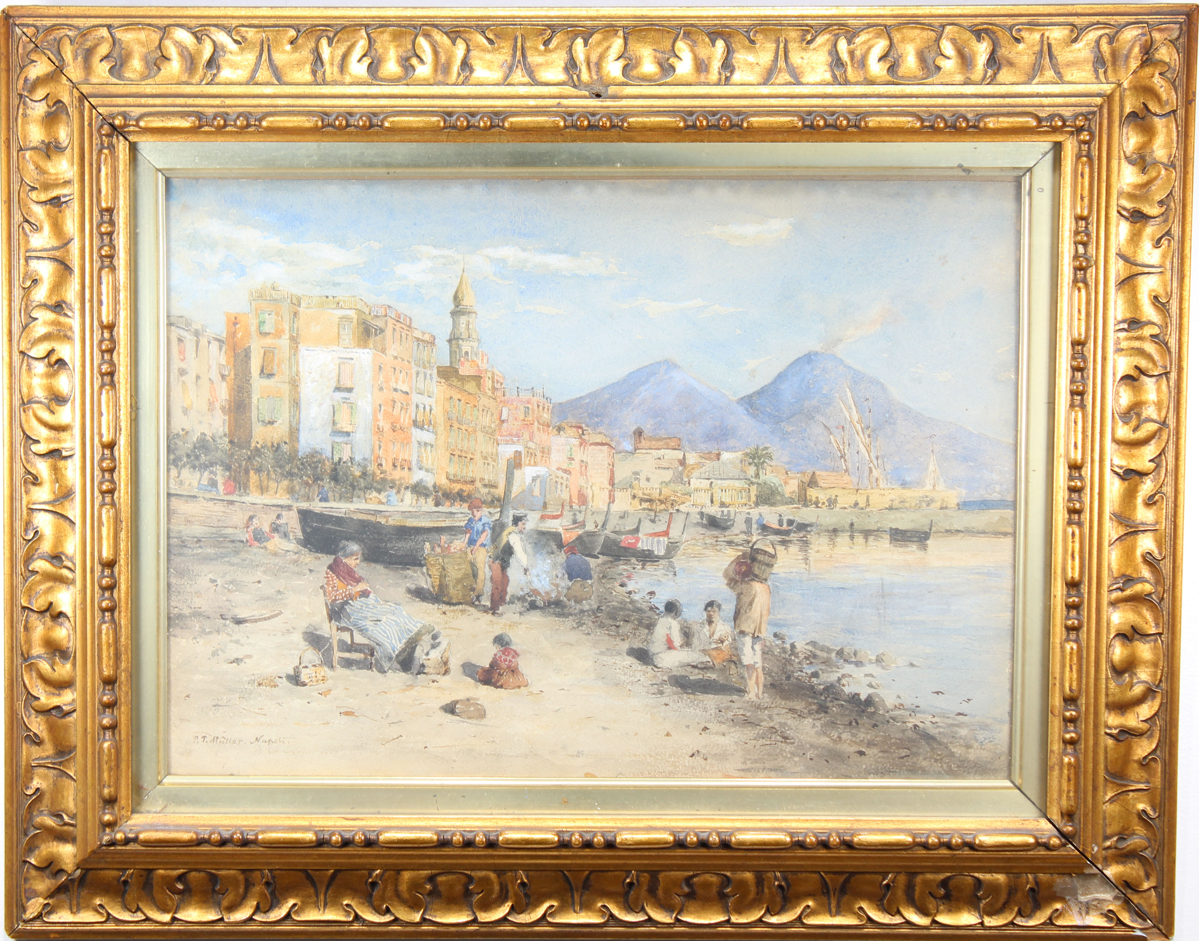 Lot 213 - P Muller, Signed Watercolor of Naples Italy