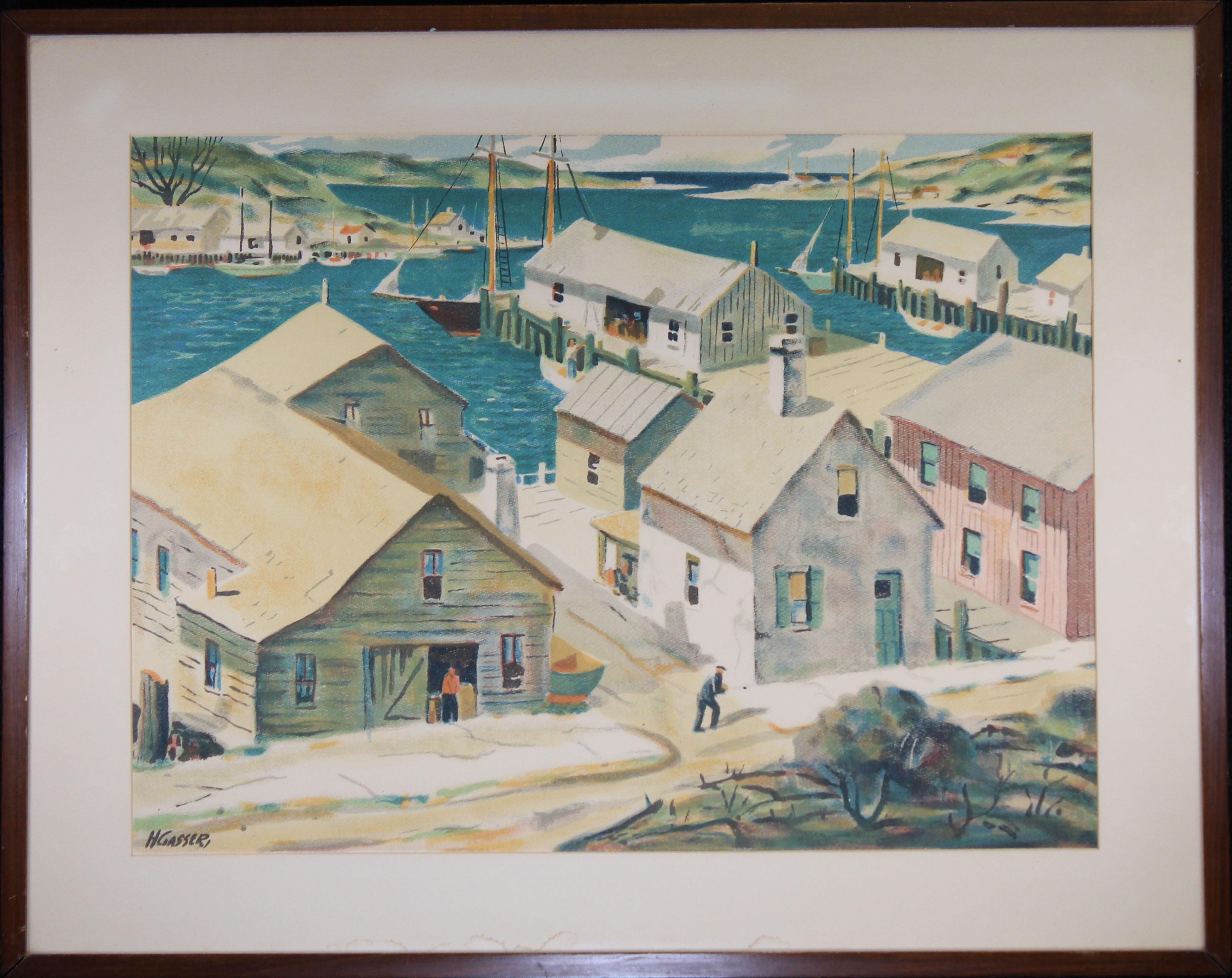 Lot 304 - Henry Gasser Lithograph Gloucester Harbor