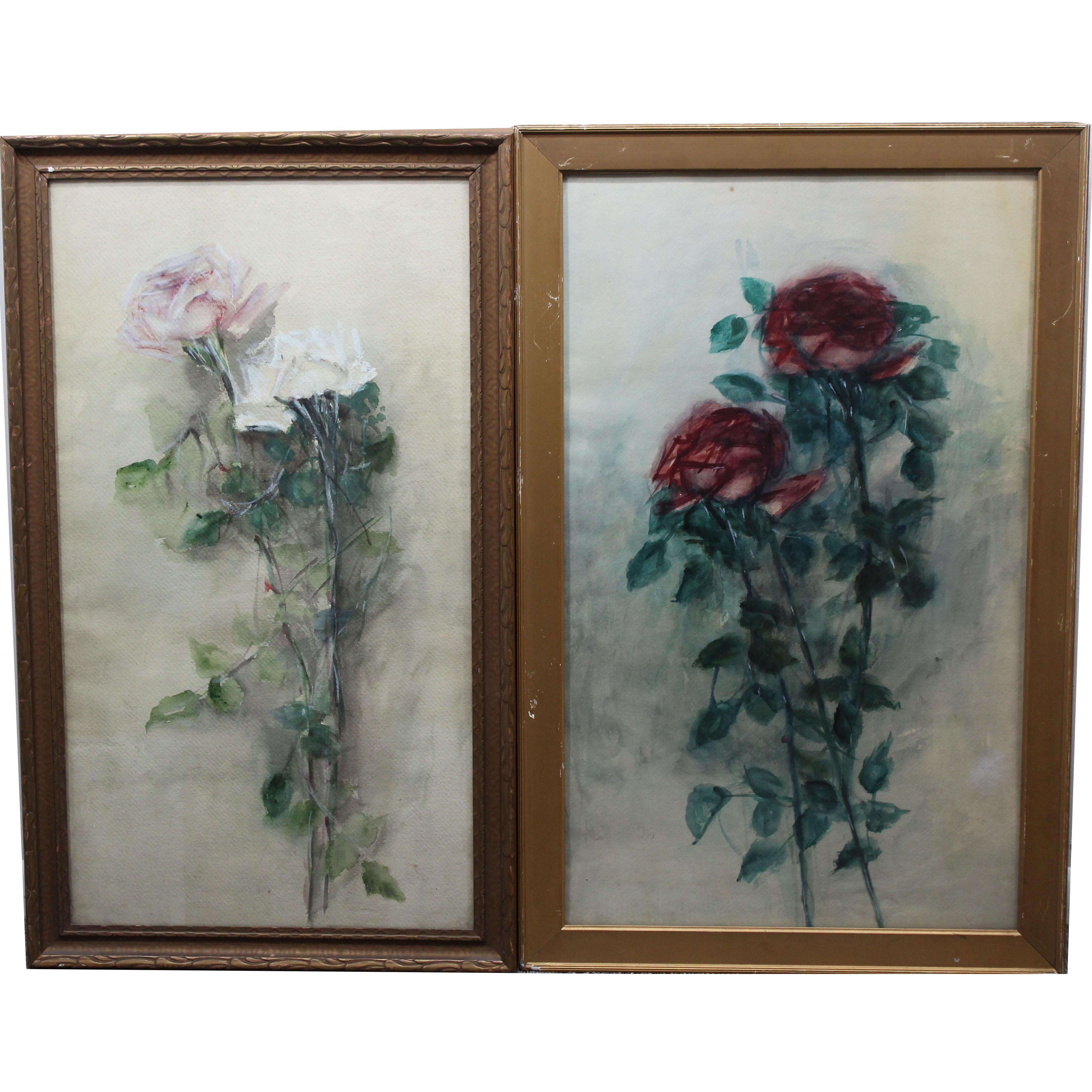 Lot 307 - (2) American School Watercolor Paintings of Roses