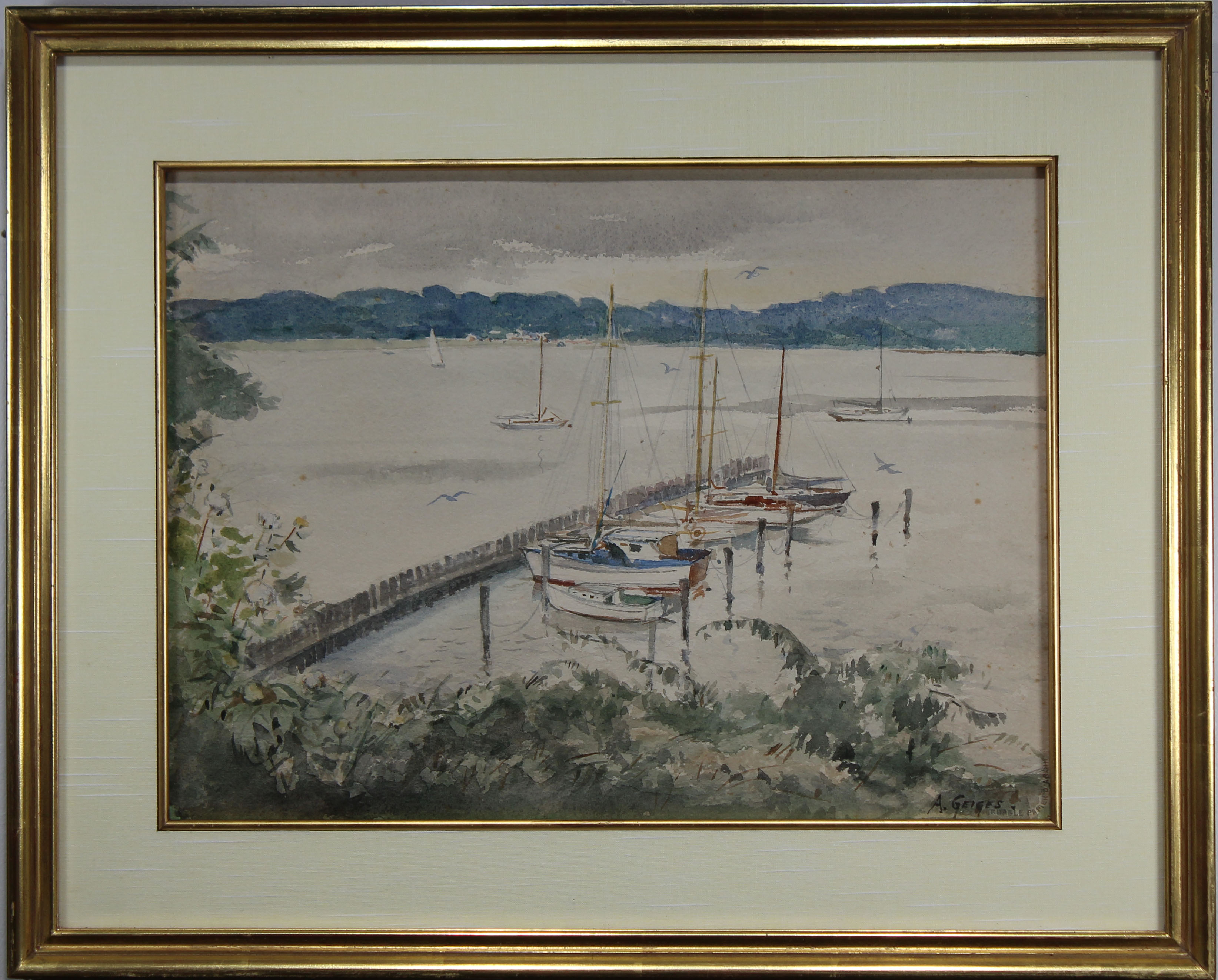 Lot 147 - American School, Signed 20th C. Harbor Scene