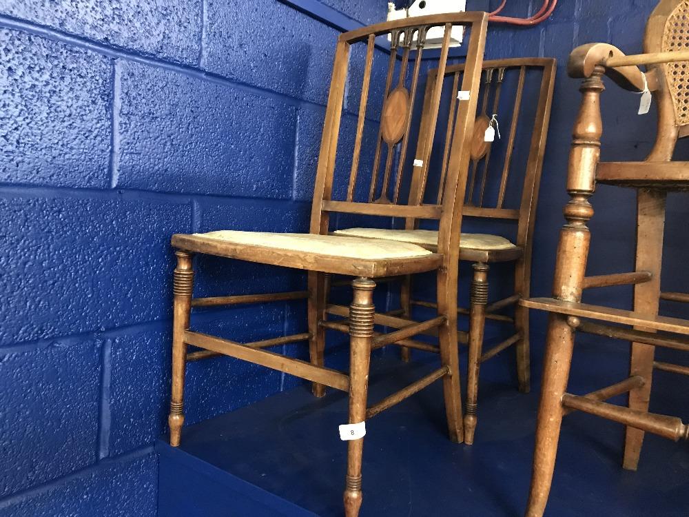 Lot 8 - 19th cent. Mahogany stick back salon chairs (2).