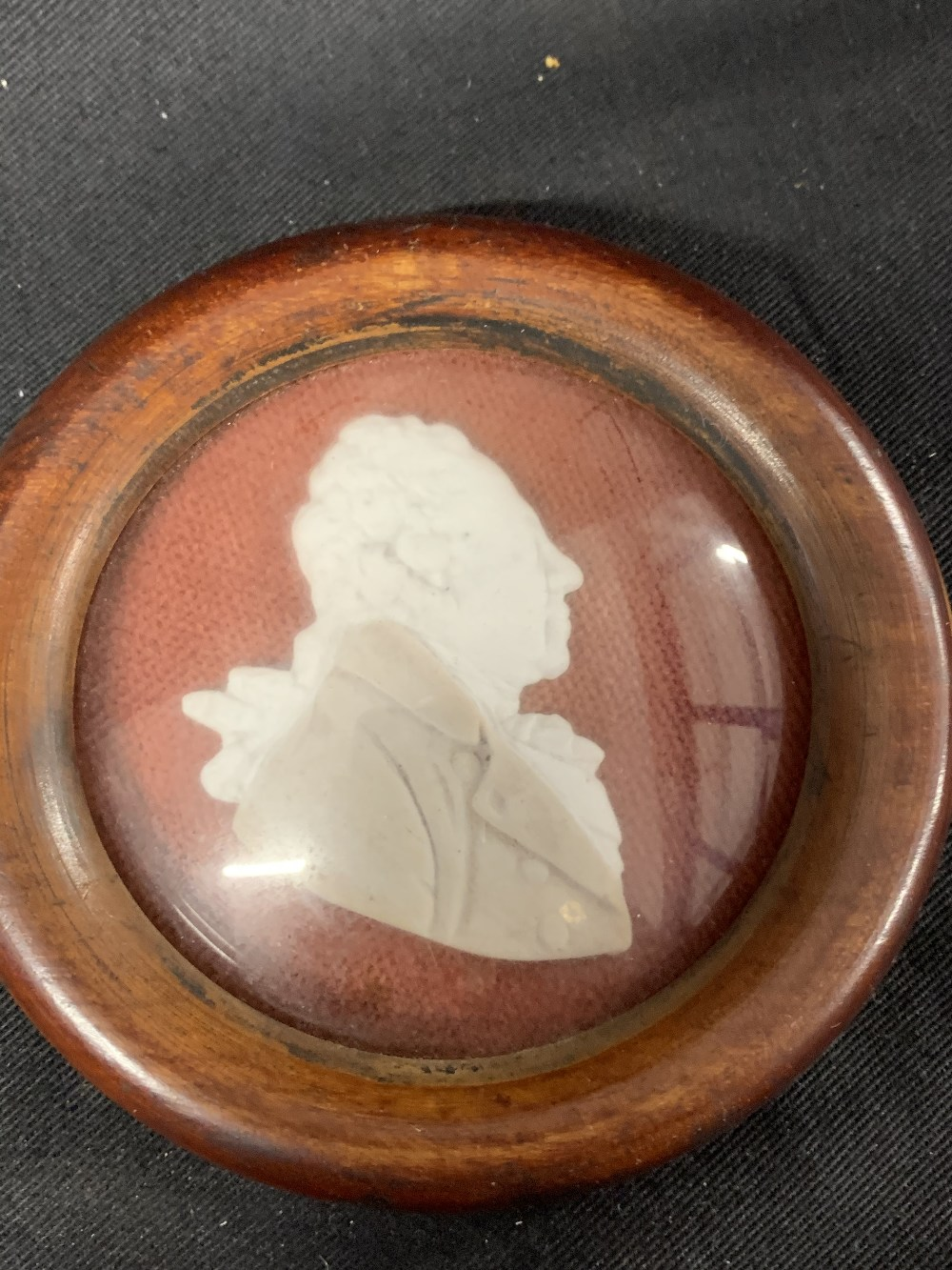 Lot 576 - English School: 19th cent. Wax relief bust portraits of historical figures including Nelson and
