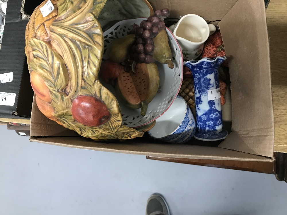 Lot 10 - Pat Purkis Ceramics: Hand decorated fruit bowl, wall decorations in the form of fruit, Schumann