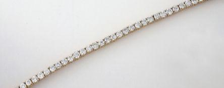 14 kt Gold Armband mit Brillanten, GG 585/000, Brillanten zus. ca. 6.00 ct feines Weiß-Weiß/vvs-