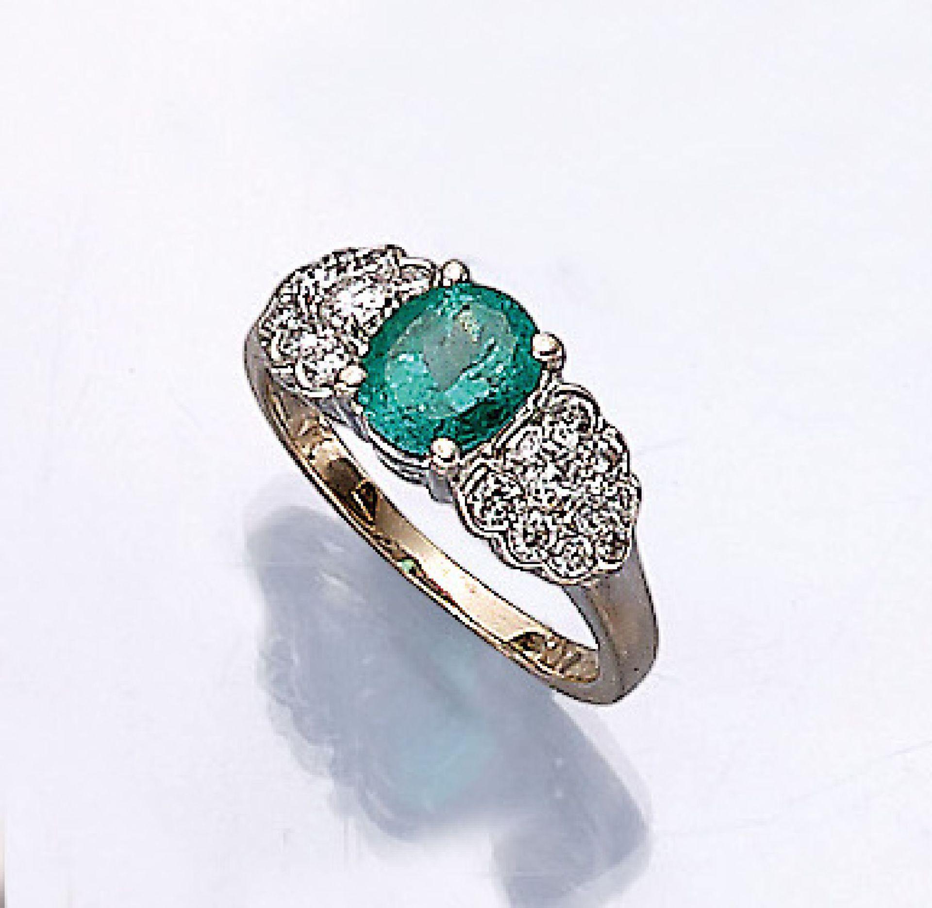 18 kt Gold Ring mit Smaragd und Brillanten, WG 750/000, ovalfacett. Smaragd ca. 1.00 ct, 20
