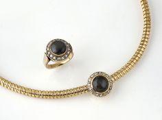 Gold Schmuckset: WEMPE Collier und Ring mit Katzenaugen und Diamanten, GG 750/000 und 585/000, 2