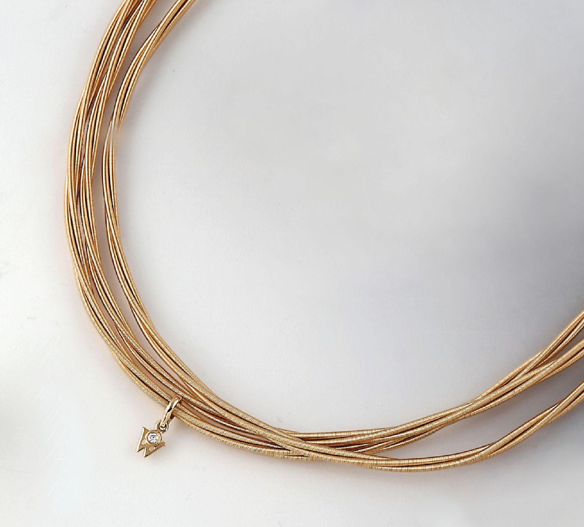 18 kt Gold WELLENDORFF-Collier Zartes Glück, GG 750/000, 3-reihig, jede Reihe jeweils nochmal aus