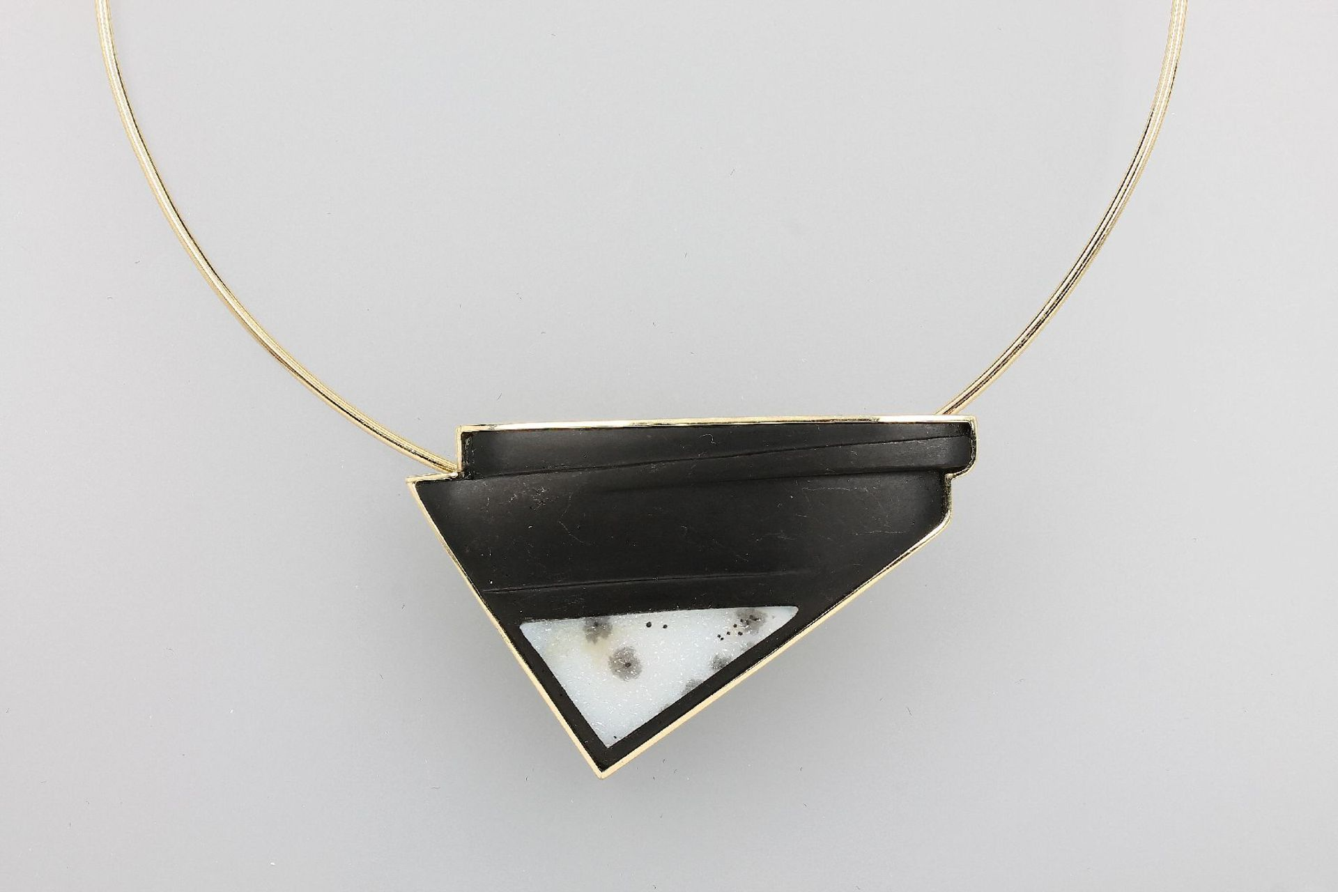 14 kt Gold Designer Collier mit Onyx, GG 585/000, Meistermarke Wolf, Unikat, Onyx geschnitten,