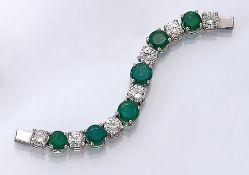 18 kt Gold Armbandersatzteil mit Smaragden und Brillanten, WG 750/000, 6 rundfacett. Smaragde zus.