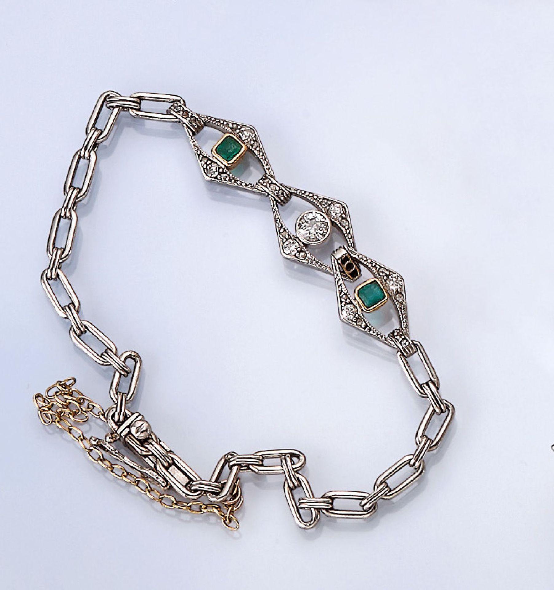 Platin Art-Deco-Armband mit Diamanten und Smaragden, Platin und GG 750/000, 2 rechteckig facett.