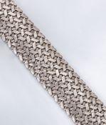 Breites 14 kt Gold Armband, WG 585/000, total ca. 49.4 g, strukt., L. ca. 19.5 cm, Kastenschloß