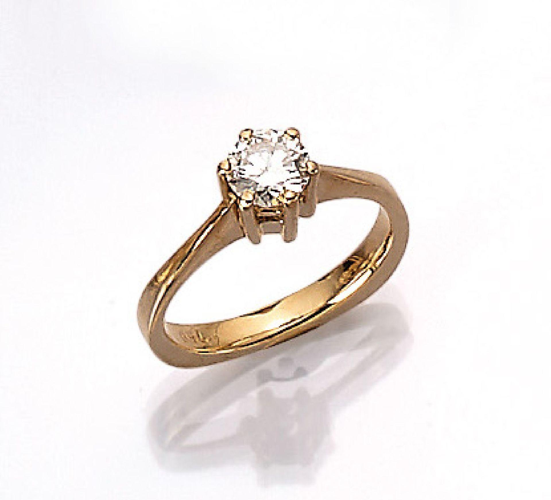 18 kt Gold Ring mit Brillant, GG 750/000, Brillant ca. 0.63 ct feines Weiß/vs1, RW 51, ca. 4.4 g