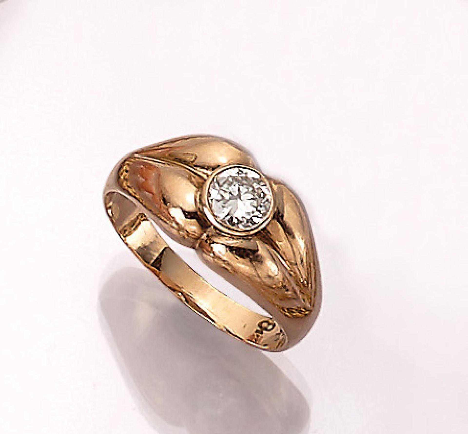 14 kt Gold Ring mit Brillant, RoseG 585/000, Brillant ca. 0.50 ct Weiß/p, RW 58, ca. 6.9 g