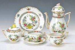 Kaffeeservice, Herend, 2.H.20.Jh., Garbendekor mit indischen Blumen, goldgehöht: Kaffeekanne, H.