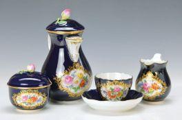 Mokka-Dejeuner, Meissen, 60er Jahre, kobaltblauer Grund, Blumenbukettmalerei, Goldränder,