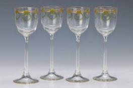 6 Gläser, deutsch, um 1910, farbloses Glas, mit transluszider Emailbemalung und Goldstaffage, H. ca.