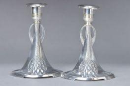 Paar Kerzenleuchter, deutsch, WMF, um 1900, Jugendstil, Legierung I/O, H. ca. 15cmA pair of