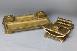 Schreibtisch-Set, deutsch, um 1930, Bronze massiv, Art-Deco, best. aus Kalender mit Ablage,