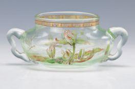 Schale, Cristallerie Emile Gallé, um 1885-90, grünliches Glas, mit bunter floraler Emailmalerei,