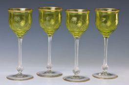 6er Satz Jugendstil-Gläser, Rheinische Glashütte, um 1900, früher Jugendstil, 6- fach facettiert,