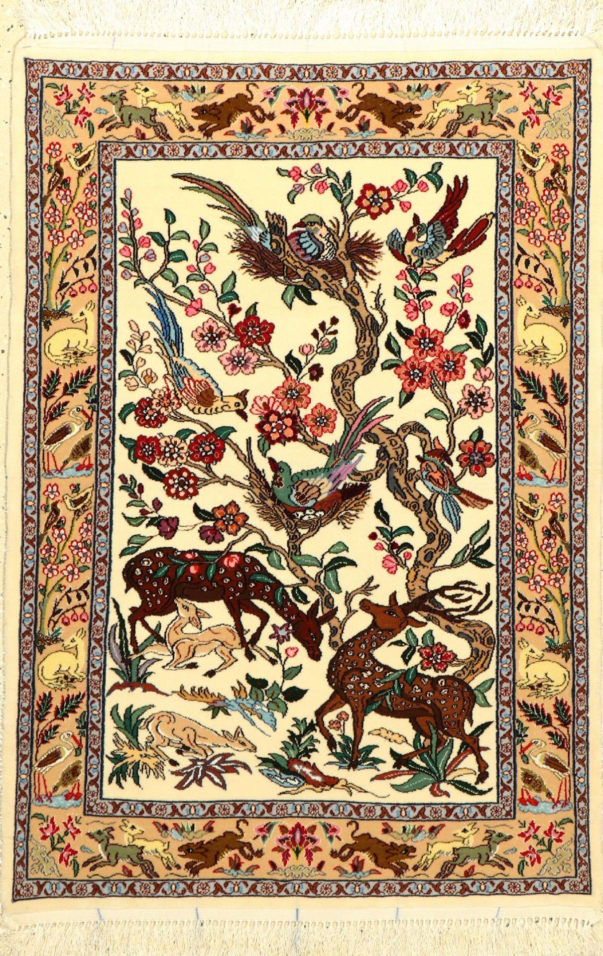 Esfahan fein (Lebensbaum), Persien, ca 15 Jahre alt, Korkwolle mit und auf Seide. Kunstvolles Muster