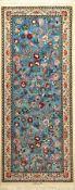 """Himmelblauer Esfahan """"Zangane"""" fein (Seidengrund) """"Signiert"""", Persien, ca. 15 Jahre alt, Seide/"""