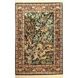 """Esfahan signiert """"Lalehzar"""", Persien, ca. 40 Jahre, Korkwolle mit und auf Seide, ca. 171x 115 cm,"""