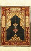 Seiden Hereke alt (Signiert), Türkei, um 1960, reine Naturseide mit Metall, ca. 71 x 53cm, EHZ: 2-