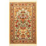 Esfahan fein (Paradies-Vasen Design), Persien, ca 15 Jahre alt, Korkwolle mit und auf Seide.