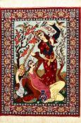 Eafahan fein (Bildteppich), Persien, ca. 15Jahre, Korkwolle mit und auf Seide, ca. 96 x 70 cm, Hafiz