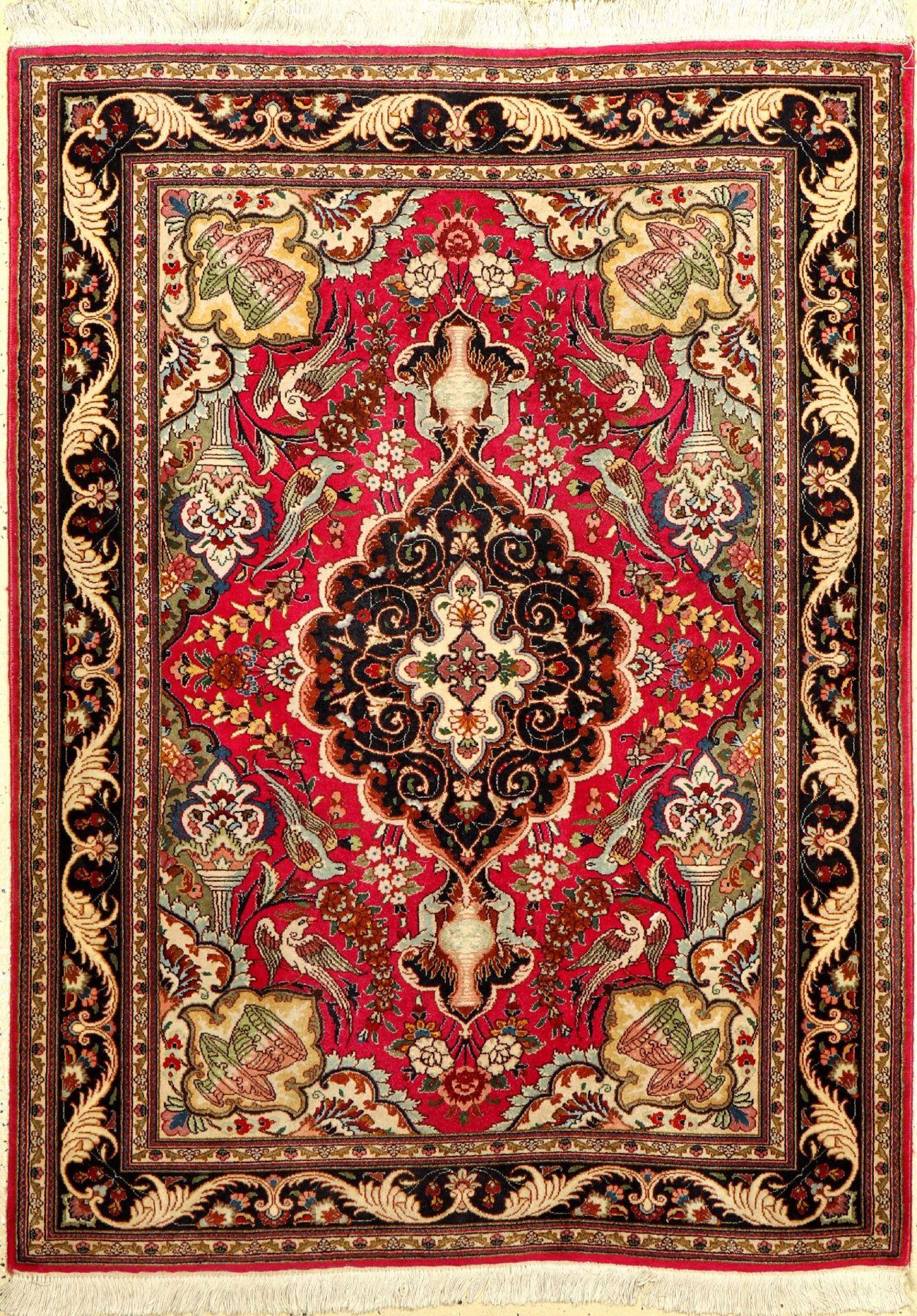 """Täbriz fein, Persien, ca. 40 Jahre, Korkwolle mit Seide, ca. 148 x 110 cm, EHZ: 2Fine Tabriz """"Part-"""