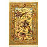 """Sehr feiner Seiden Ghom """"Dakhili"""" (The Hunting) """"Signiert"""", Persien, ca. 15 Jahre alt, reine"""