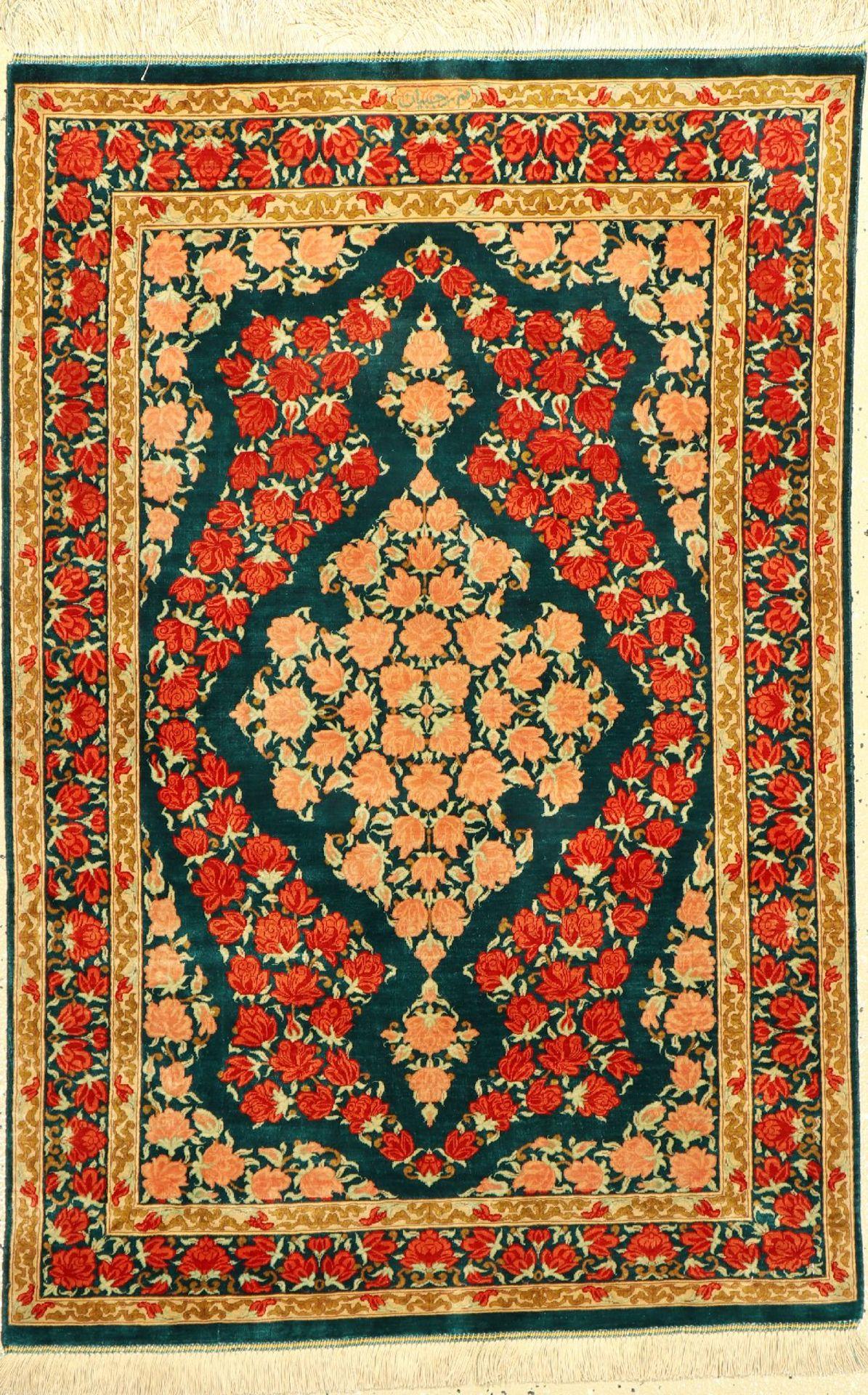 """Sehr feiner Seiden Ghom """"Rajabian"""" (Signiert), Persien, ca. 15 Jahre alt, reine Naturseide."""