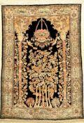Seiden Ghom alt, Persien, ca. 50 Jahre, reine Naturseide, ca. 152 x 110 cm, EHZ: 2Silk Qum Rug,