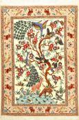 Esfahan fein (Lebensbaum), Persien, ca. 15 Jahre, Korkwolle mit und auf Seide, ca. 128 x 88 cm, EHZ: